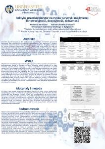 Poster przedstawiający wyniki badań dotyczących polityki polskich przedsiębiorstw działających na rynku turystyki medycznej